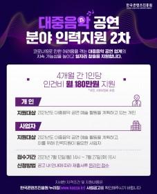 [인력지원] 한국콘텐츠진흥원 주관 2021년 대중음악인력지원 2차 공고